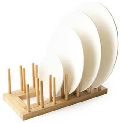 Expandable Bamboo Plate Rack 24 Ct - Contemporary - Dish ...