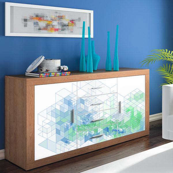 Vinilo decorativo cubos 3d moderno decoraci n del for Decoracion hogar 3d