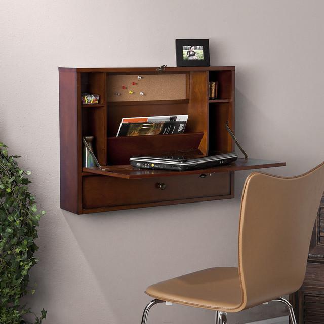 florien wall mount brown mahogany laptop desk