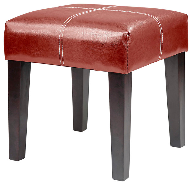 Corliving Antonio 16 Square Bench In Red Bonded Leather Contemporary Footstools And