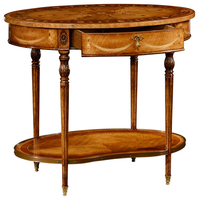 Jonathan charles sheraton style swagged oval side table for What is sheraton style furniture