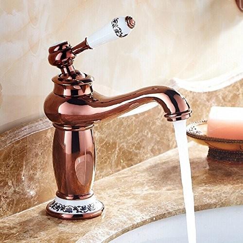 Rose Gold Vessel Sink Faucets Basin Mixer Taps - Asian - Bathroom Sink ...