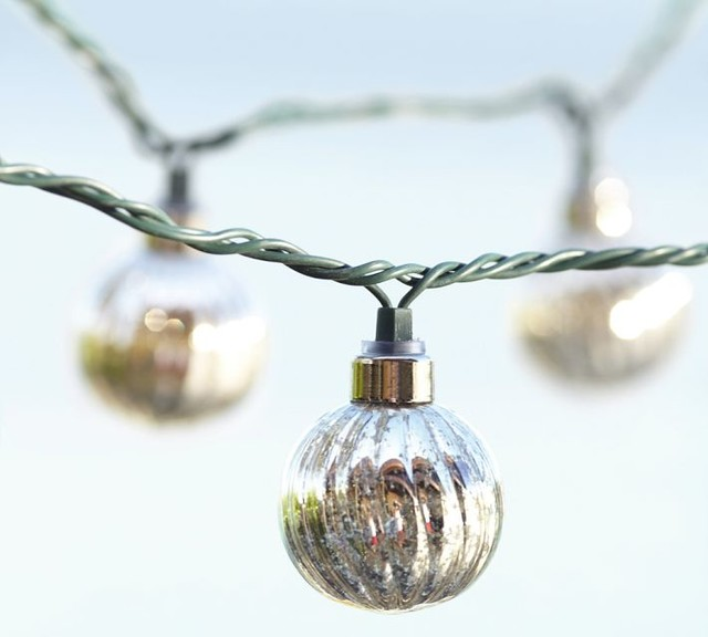 Glass String Lights Outdoor : Mercury Glass Globe String Lights - Contemporary - Outdoor Rope And String Lights - by Pottery Barn