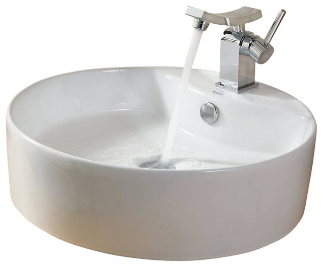 Kraus Sinks Uk : Kraus White Round Ceramic Sink and Unicus Basin Faucet - Contemporary ...