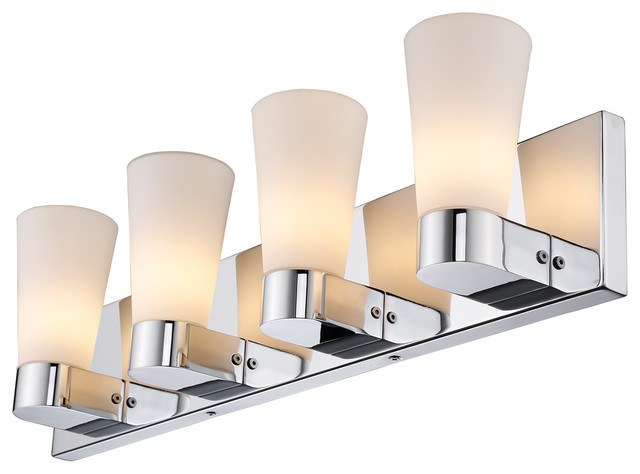 Modern Vanity Lighting Chrome : Cono 4 Light Bath Vanity, Chrome Finish - Modern - Bathroom Vanity Lighting - by Golden Lighting