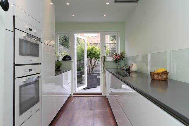 White Gloss Galley Kitchen Modern Kitchen London By Lwk Kitchens London