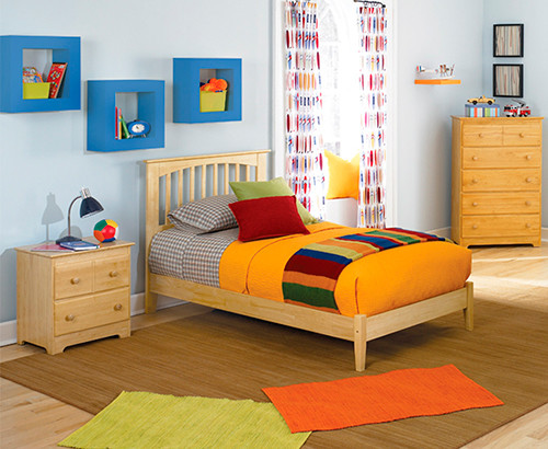 brooklyn open footrail 3 pc natural maple bedroom set bed