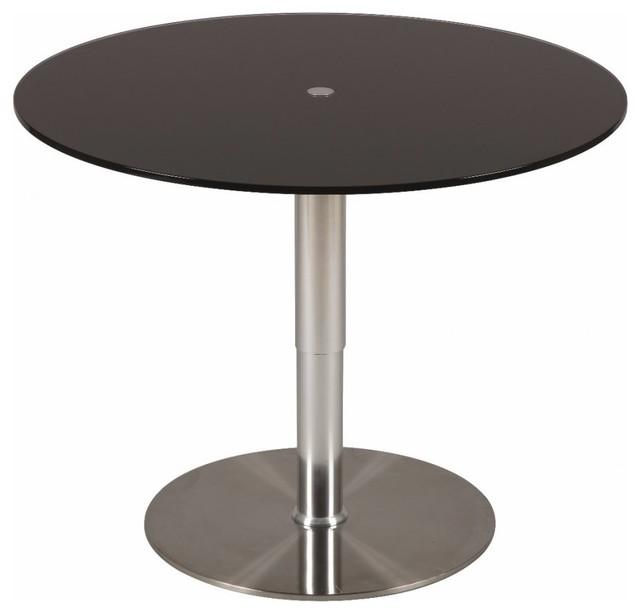 Table relevable ronde scion en verre noir pi tement acier - Table ronde relevable ...