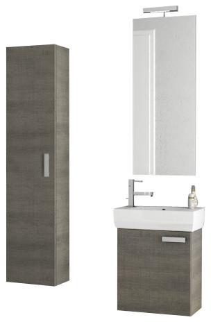 18 inch grey oak bathroom vanity set contemporary