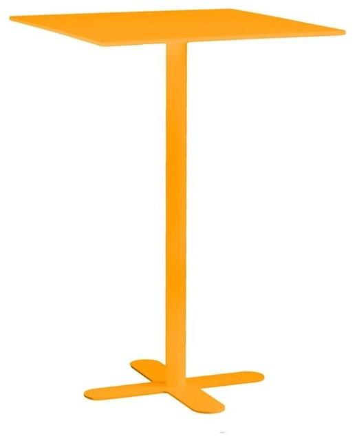 Table haute m tal carr e 80x80 san mateo couleur jaune for Table exterieur 80x80