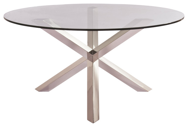 Clear Tempered Glass And Stainless Steel Columbus Dining