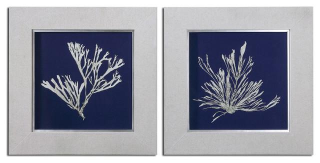 Seaweed On Navy Wall Art S/2