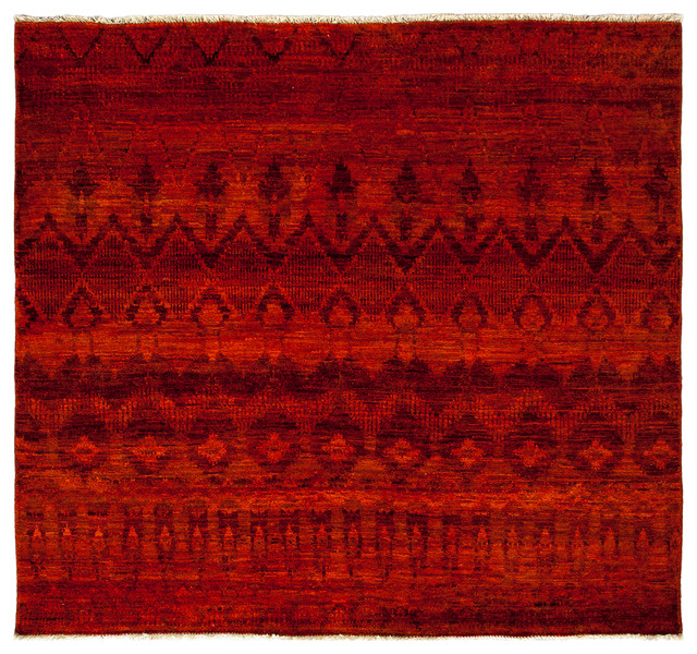 Moroccan Scroll Tile Light Blue Handmade Persian Style: Moroccan Wool Area Rug, Orange, 4x6