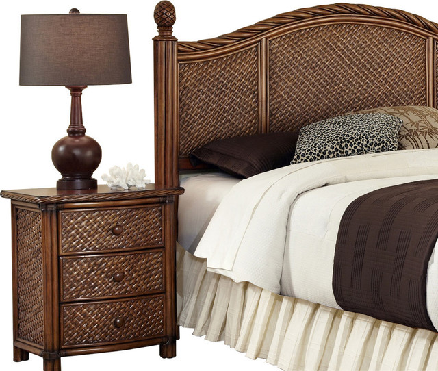 Marco island queen full headboard and night stand for Transitional bedroom furniture