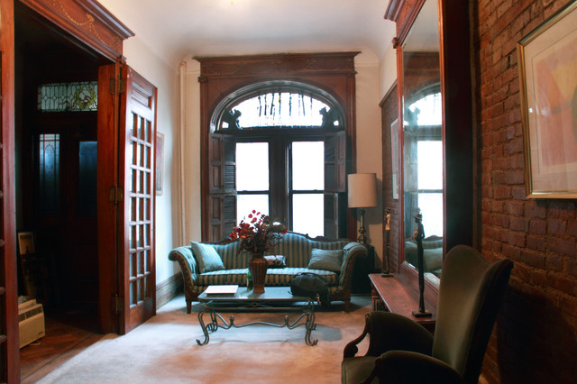 Modern meets traditional at a harlem brownstone for New york brownstone interior design