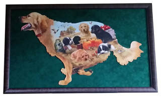 Large Dog Shaped Wall Art Professionally Custom Framed