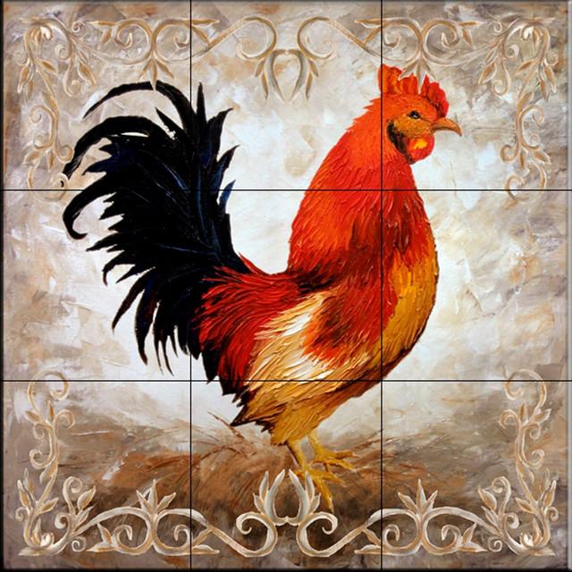 tile mural rooster ii kitchen backsplash ideas