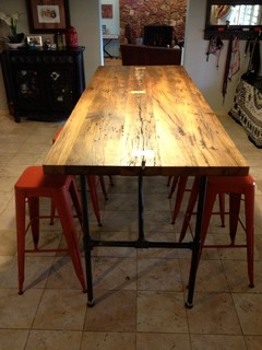 Reclaimed Wood Dining Table - White Oak / Gas Pipe ...