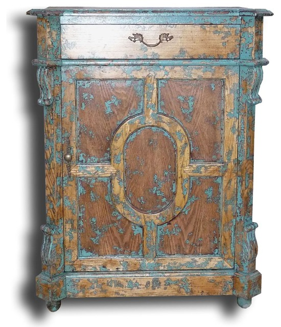 ... Cabinet Distressed Turquoise mediterranean-accent-chests-and-cabinets