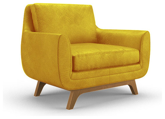 Calhoun Leather Chair Brighton Lemon Grass Yellow