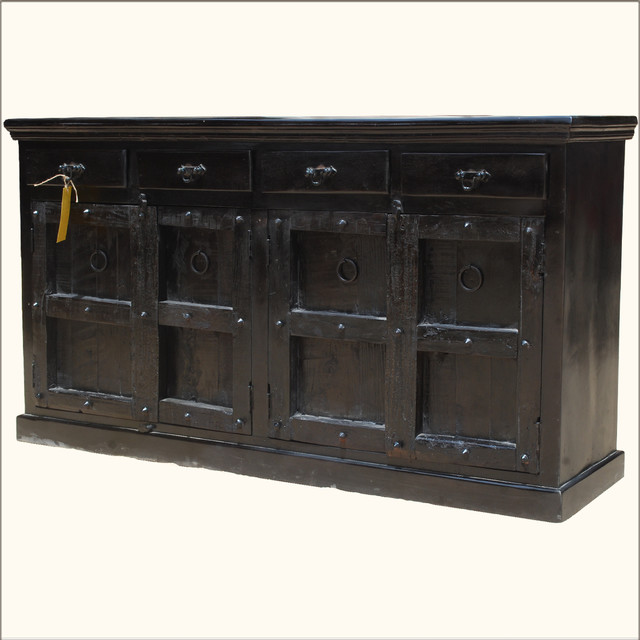 Reclaimed Wood Furniture Kansas 4 Door Drawer Buffet Cabinet Sideboard - Rustic - Buffets And ...