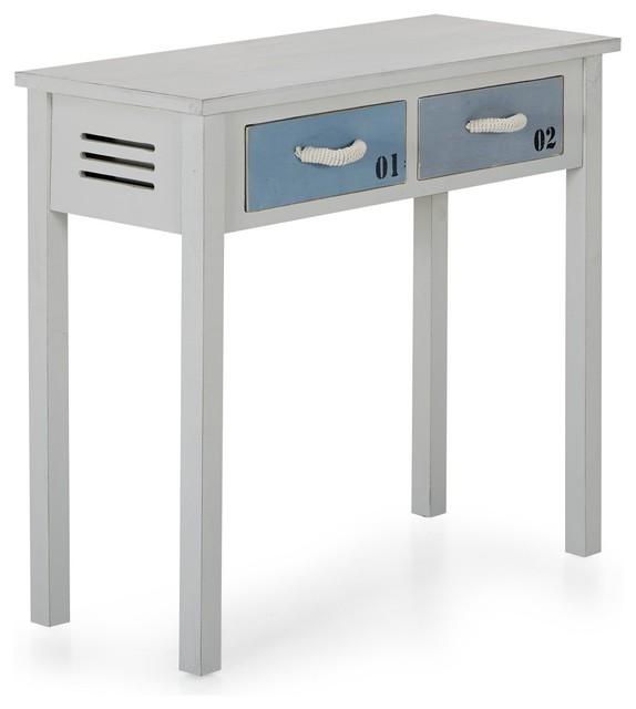 pyla console 2 tiroirs en sapin blanc et bleu bord de mer console par alin a mobilier d co. Black Bedroom Furniture Sets. Home Design Ideas