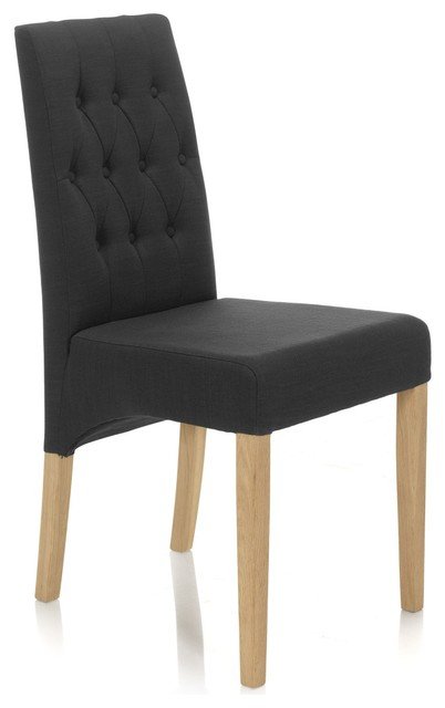 Inna chaise de salon capitonn e grise moderne chaise for Chaise salon moderne
