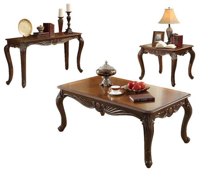 Homelegance Lambeth Ii 3 Piece Rectangular Coffee Table Set In Rich Cherry Traditional