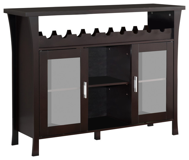 Wine Rack Buffet Server And Console Table With Glass Doors, Espresso Finish - Wine And Bar ...
