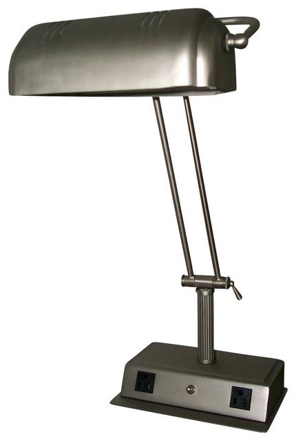 lighting la 623a bs 60 w desk lamp w two outlet traditional desk lamps. Black Bedroom Furniture Sets. Home Design Ideas