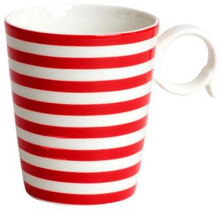 ... Red Striped Mugs (Set of 4) - Contemporary - Mugs - by Overstock.com