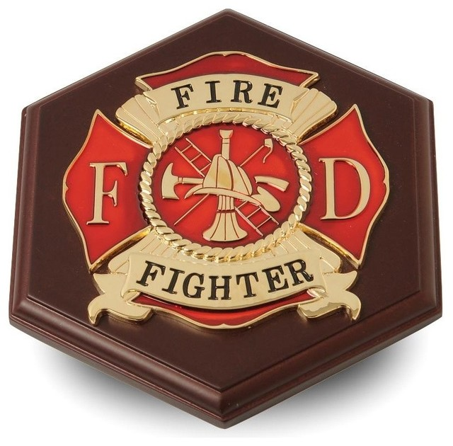 Firefighter Medallion Paperweight Traditional Desk Accessories