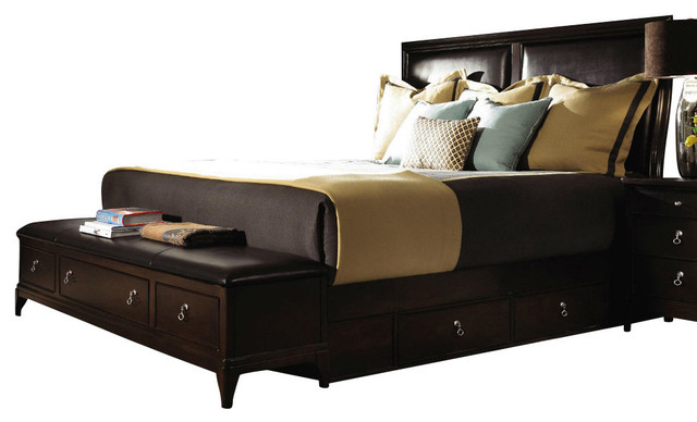 Kincaid alston solid wood queen bed with underbed and footboard bench storage furniture by Queen bedroom sets with underbed storage