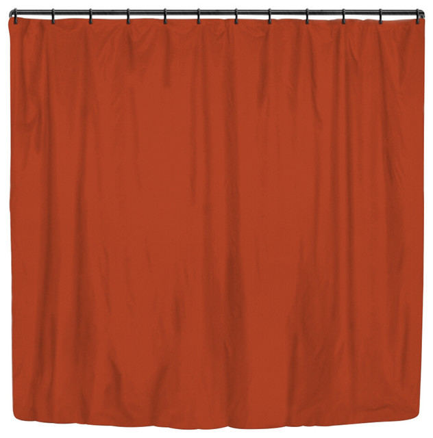 Rust Solid Color Stripes Large Shower Curtain modern-shower-curtains