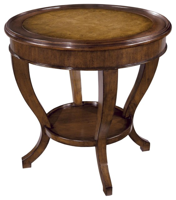 Round Side Table Solid Alder Wood Oak Transitional Side Tables And End Tables