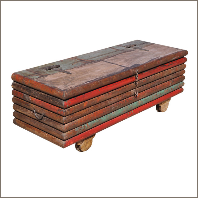 Whimsical Wooden Pallet Multi Color Stack Coffee Table