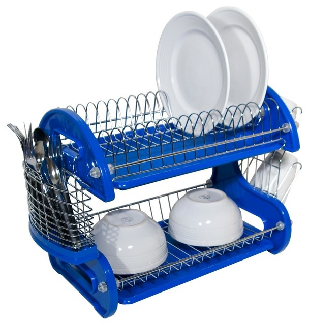 Blue 2 Tier Dish Drainer - Contemporary - Dish Racks - by HoldNStorage