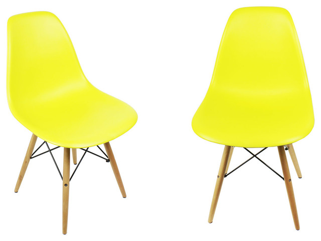 2 x dsw light yellow modern mid century dining shell chair for Modern yellow dining chairs