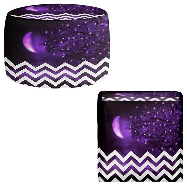 Dianoche pouf chair foot stool purple moon chevron contemporary