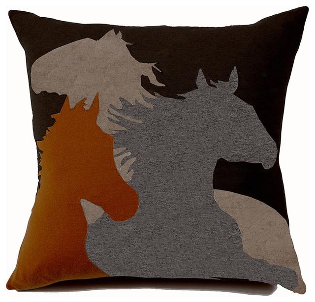 Rani Arabella Orange Horse Cashmere Blend Pillow - Farmhouse - Decorative Pillows