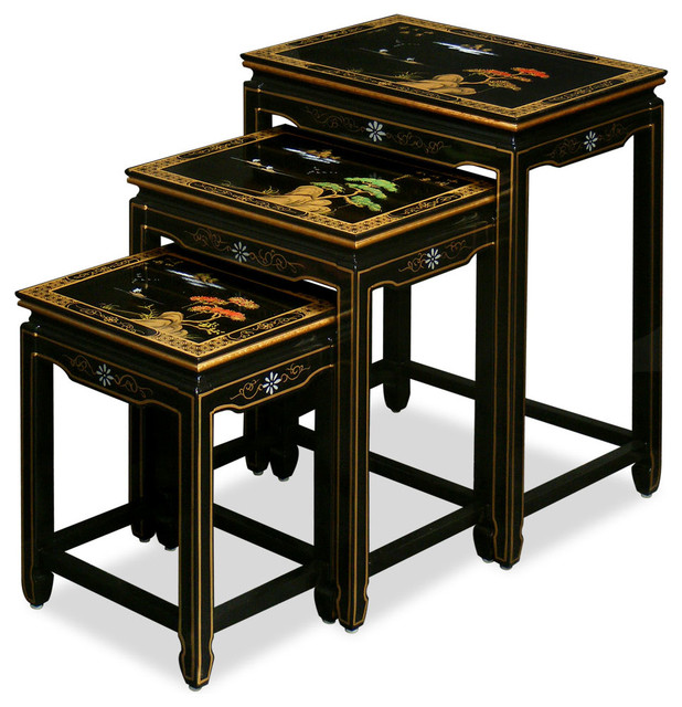 Hand Painted Scenery Design Nesting Tables Asian Side
