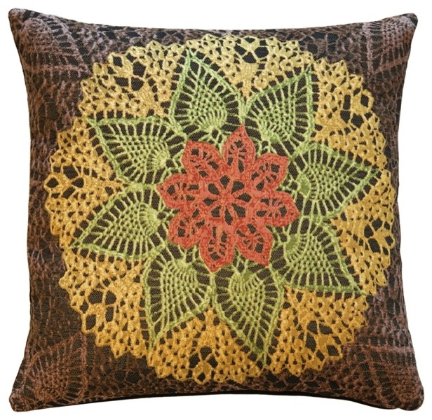 Eclectic Mix Of Pillows : Crocheted Flower Tapestry Pillow - Eclectic - Decorative Pillows - by Pillow Decor Ltd.