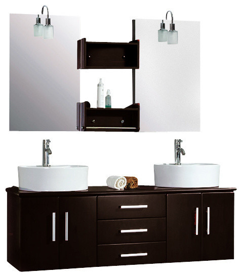 Cambridge 59 Double Bathroom Wall Mounted Wood Vanity Set Chrome Faucet Modern Bathroom