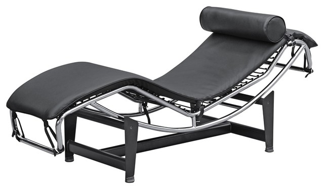 Fine mod imports adjustable chaise black modern for Black chaise lounge indoor