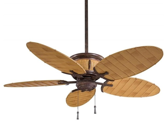 Tropical Ceiling Fans : Minka aire shangri la light vintage rust bamboo outdoor