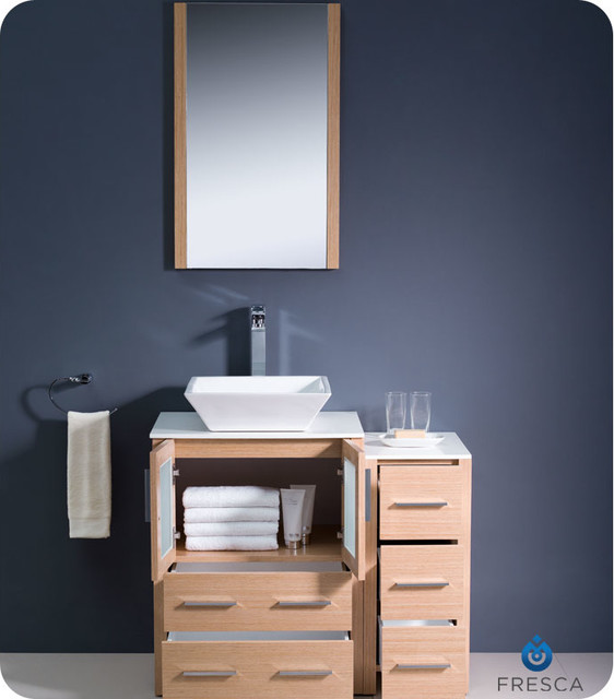Torino 36 Light Oak Modern Bathroom Vanity With Side Cabinet Vessel Sink Mo