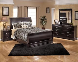 Signature design by ashley esmeralda merlot sleigh bed for Bi rite furniture living room sets