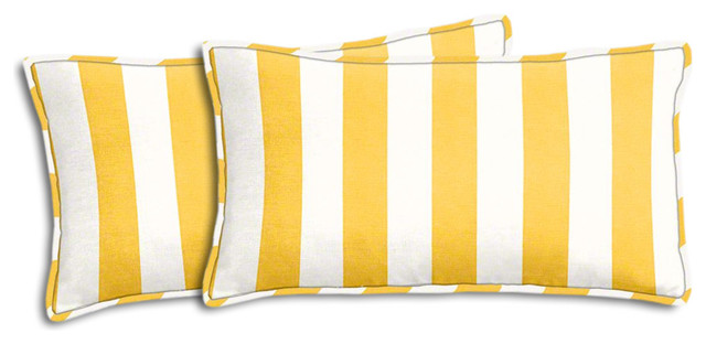 Yellow And White Striped Outdoor Lumbar Pillow Set Beach