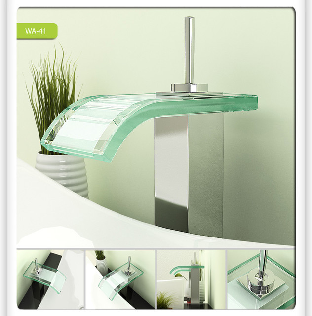 Glass Bathroom Faucets : Glass Waterfall Bathroom Vessel Sink Faucet 0206A - Modern - Bathroom ...