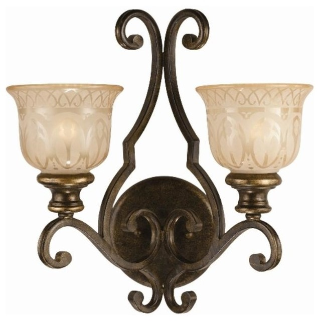 Wall Sconces Overstock : Bronze Umber Amber Glass Shade 2-light Wall Sconce - Contemporary - Wall Sconces - by Overstock.com